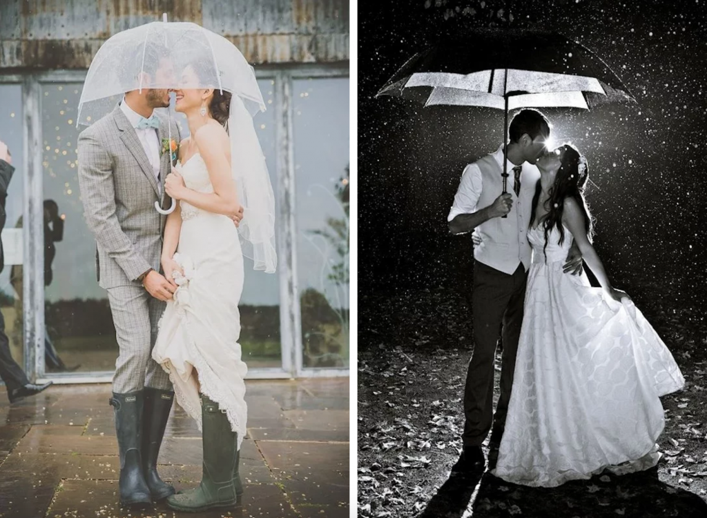 Bryllupsbilder i regnvær bryllupsplanlegging