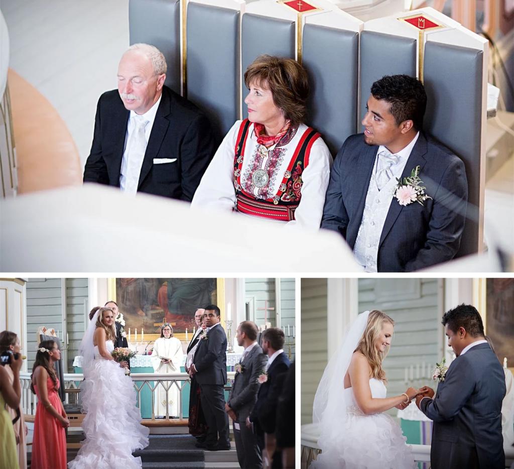 brud brudgom kirkebryllup brudekjole