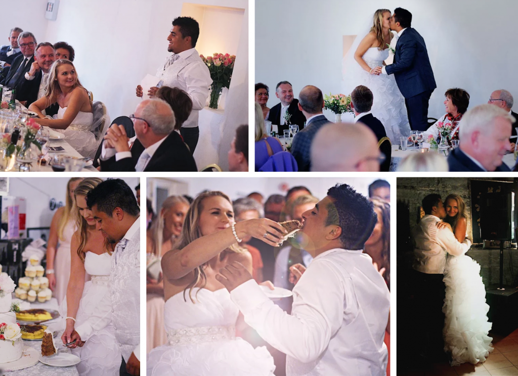 Bryllupsfest brudepar bryllupstaler bryllupstale brudgommens tale bryllupskake kakekutting